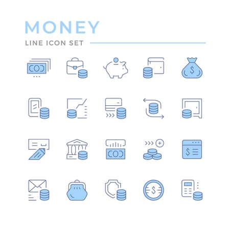 Set color line icons of money