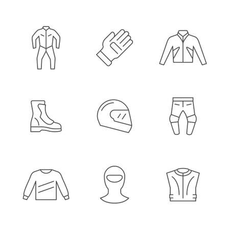 Set line icons of motorcycle clothes Ilustração