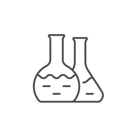 Chemical flask line outline icon