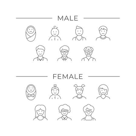 Set line icons of people age