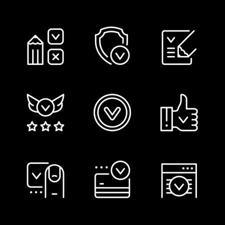 Set line icons of approval 向量圖像
