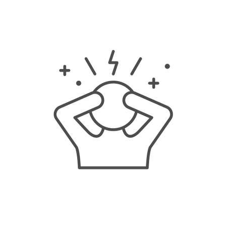 Stress or anxiety line outline icon Vektorové ilustrace