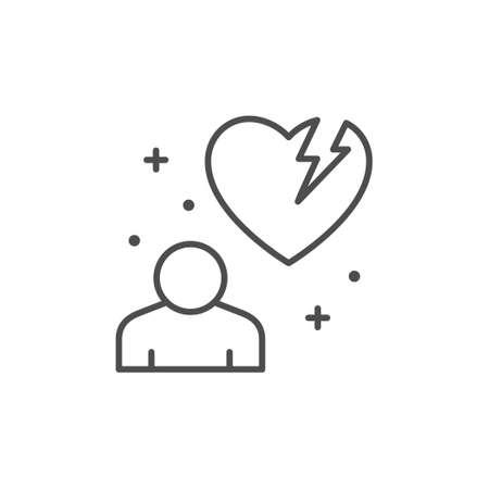 Broken heart line outline icon