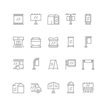 Set line icons of outdoor advertising 矢量图像