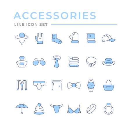 Set color line icons of accessories