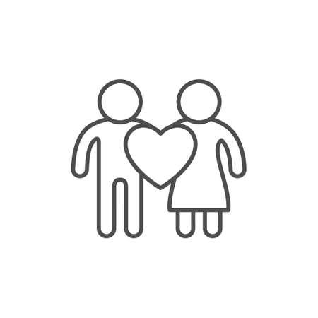 Couple and love line outline icon Illusztráció