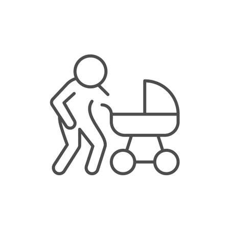 Parent with baby carriage line outline icon Illusztráció