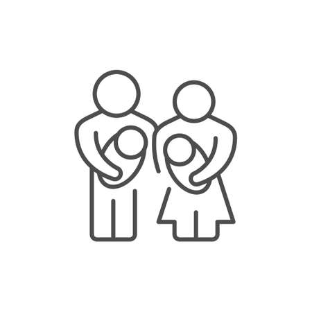 Parents and baby line outline icon