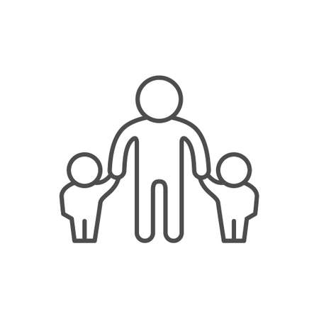 Father and children line outline icon
