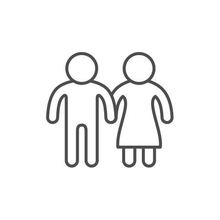 Couple line icon and love concept