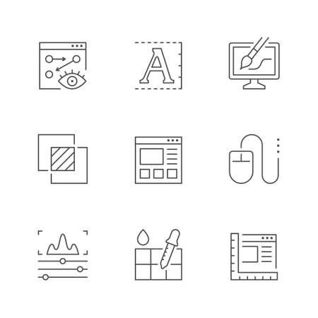 Set line icons of web design Stock Illustratie