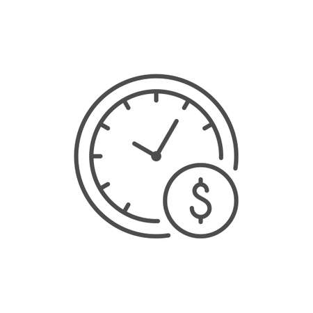 Hourly payment line outline icon