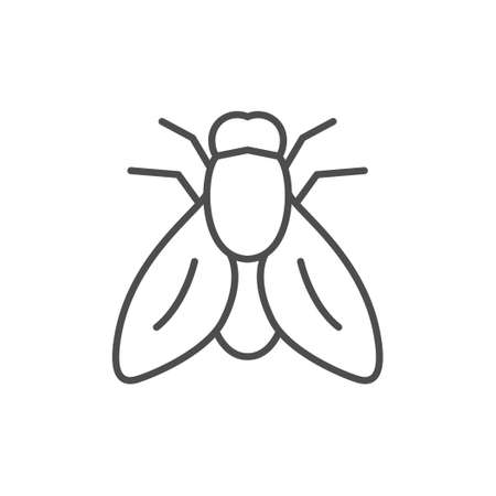 Fly line outline icon or insect concept
