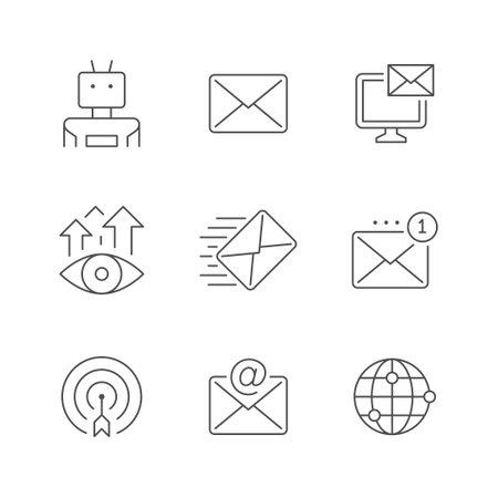 Set line icons of email marketing Ilustração Vetorial