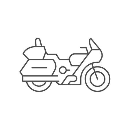 Touring motorcycle line outline icon