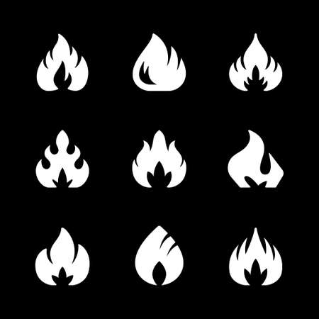 Set glyph icons of fire or flame