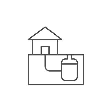 Home sewerage system line outline icon