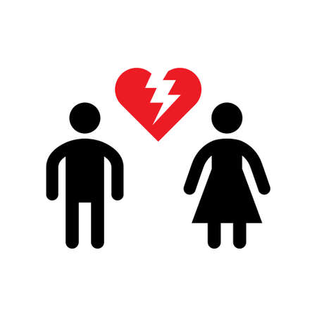 Broken relationship icon or divorce concept isolated on white. Vector illustration