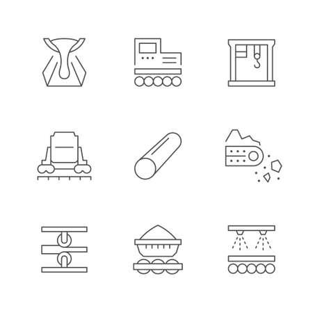 Set line icons of metallurgy