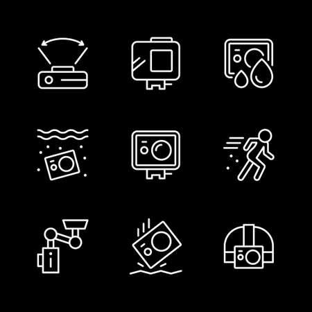 Set line icons of action camera Ilustración de vector