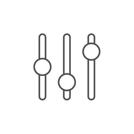 Settings sliders line outline icon isolated on white Vector Illustratie
