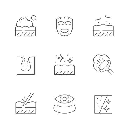 Set line icons of skin care