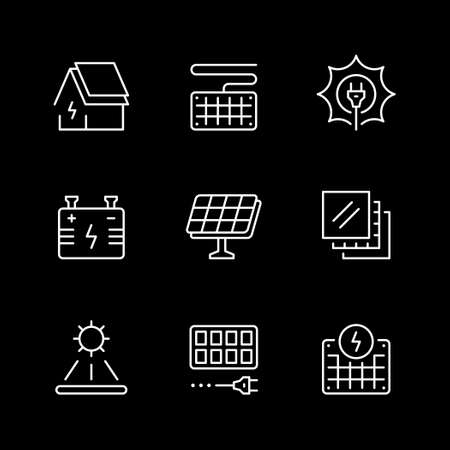 Set line icons of solar panels