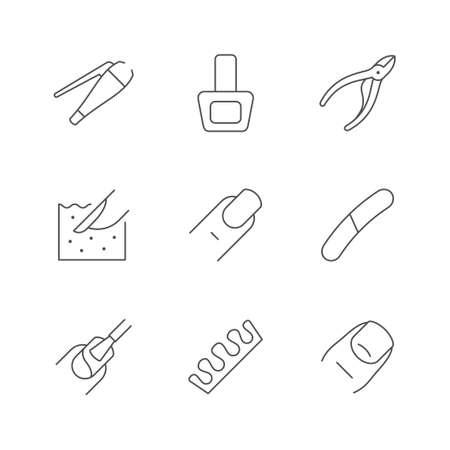 Set line icons of nails