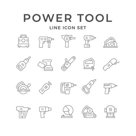 Set line icons of power tool