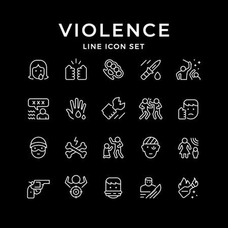 Set line icons of violence Çizim