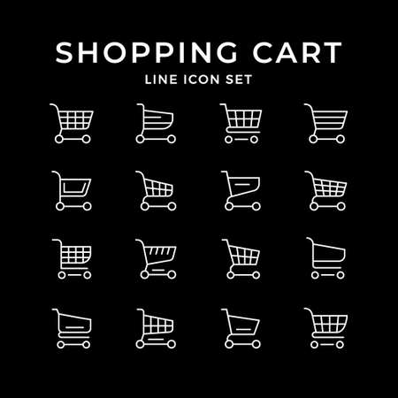 Set line icons of shopping cart Иллюстрация