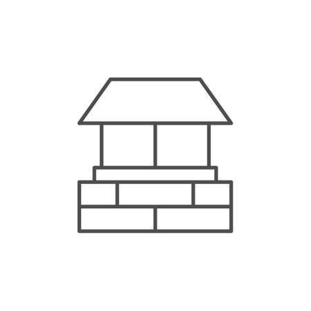 House chimney line outline icon