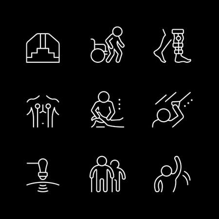 Set line icons of physical therapy Иллюстрация