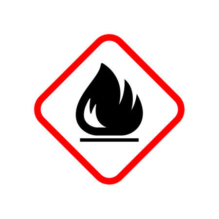 Flammable material warning glyph symbol isolated on white 向量圖像