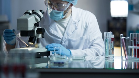 High class medical laboratory dealing with development of vaccines for soldiers Stock Photo