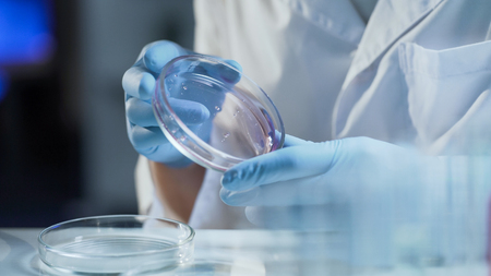 Lab worker examining consistency of material, working on creation of detergent