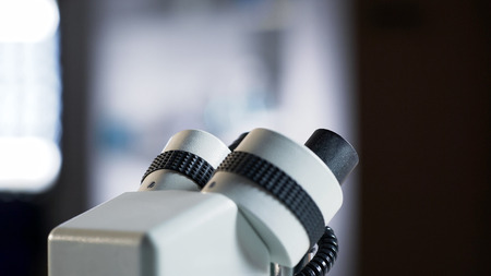 Professional microscope standing in laboratory, medical research equipment
