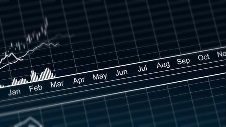 Animated line chart representing demographic statistics data, analytical graph