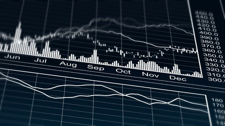 Computer generated line graph on company marketing strategy results per year Stock Photo