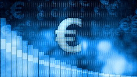 Euro dropping, descending graph background, world crisis, stock market crash