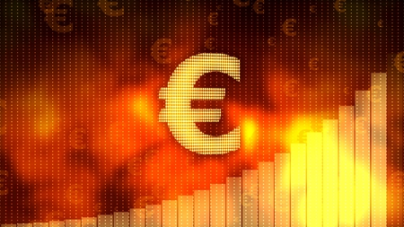 Golden euro sign, currency growth graph on background, financial crisis averted Reklamní fotografie