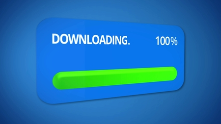 Notification about successful download process, status bar totally completed Stock Photo
