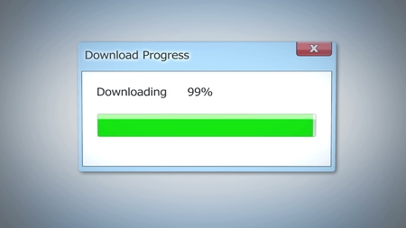 Download progress almost done, dialog box with green status bar, software update