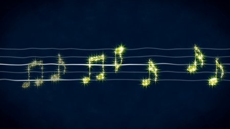 Sparkling golden notes on sheet music, karaoke background, abstract illustration Stok Fotoğraf
