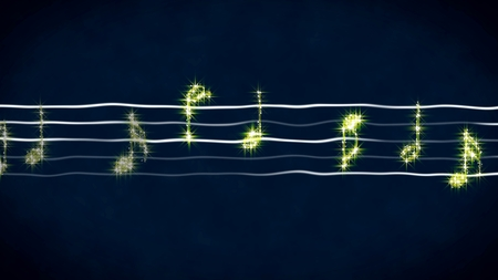 Shiny music notes on wavy sheet, instrumental background, abstract illustration Stok Fotoğraf