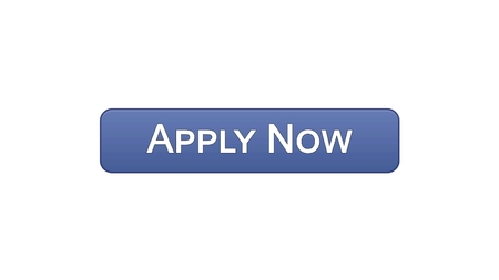 Apply now web interface button violet color, online education program, vacancy, stock footage