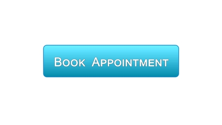 Book appointment web interface button blue color design, meeting date, calendar, stock footage
