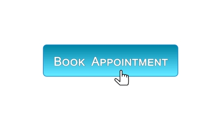 Book appointment web interface button clicked with mouse, blue color, calendar, stock footage Imagens