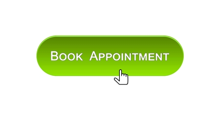 Book appointment web interface button clicked with mouse, green color, calendar, stock footage
