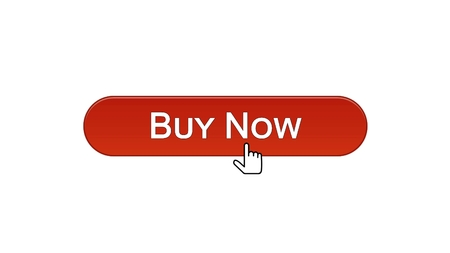 Buy now web interface button clicked with mouse cursor, wine red color, credit, stock footage